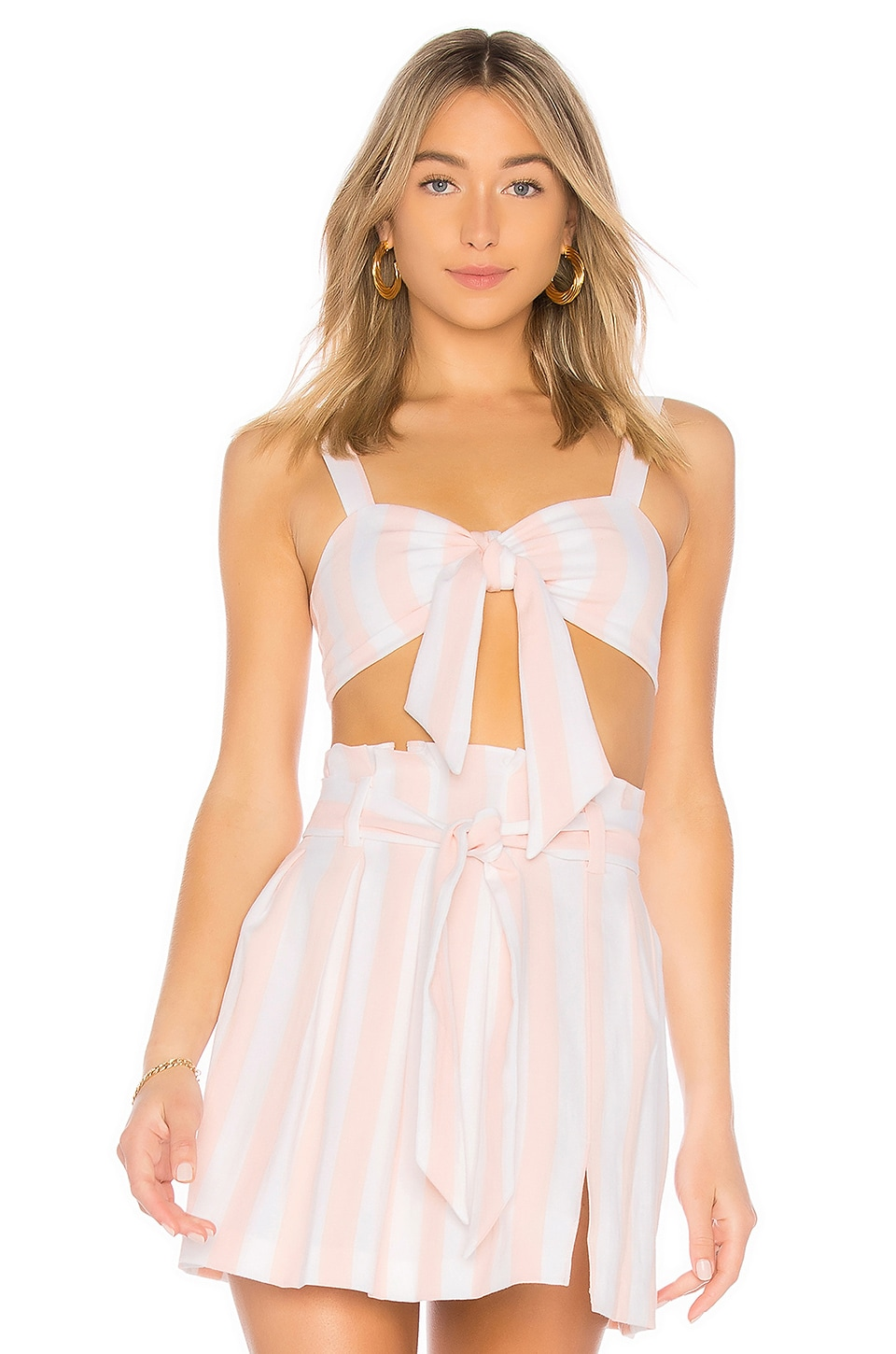 Privacy Please Peony Top in Pearl Stripe