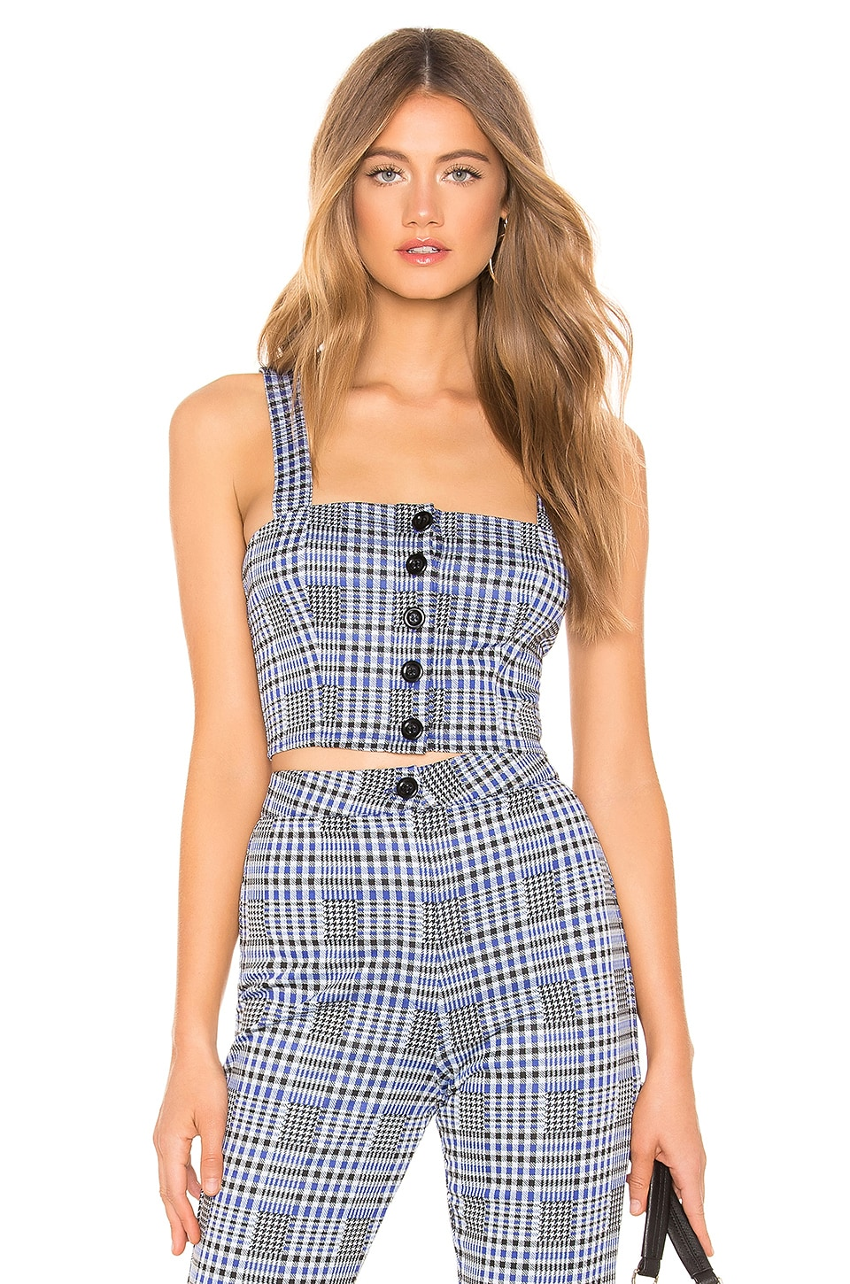 Privacy Please Avalon Top in Blue & Black Plaid