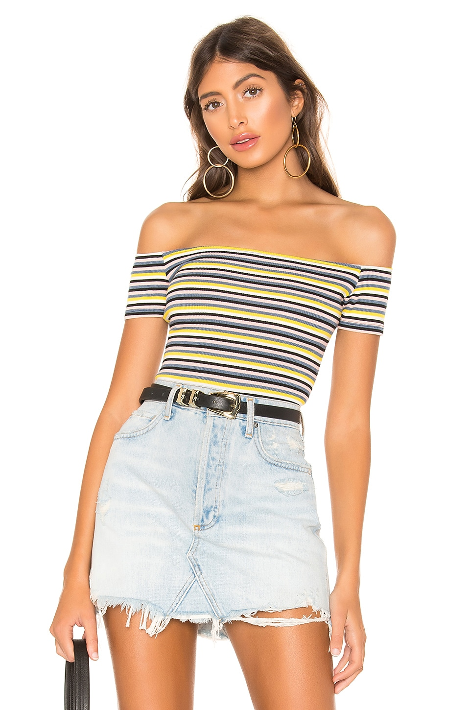 Privacy Please Lara Bodysuit in Yellow Stripe