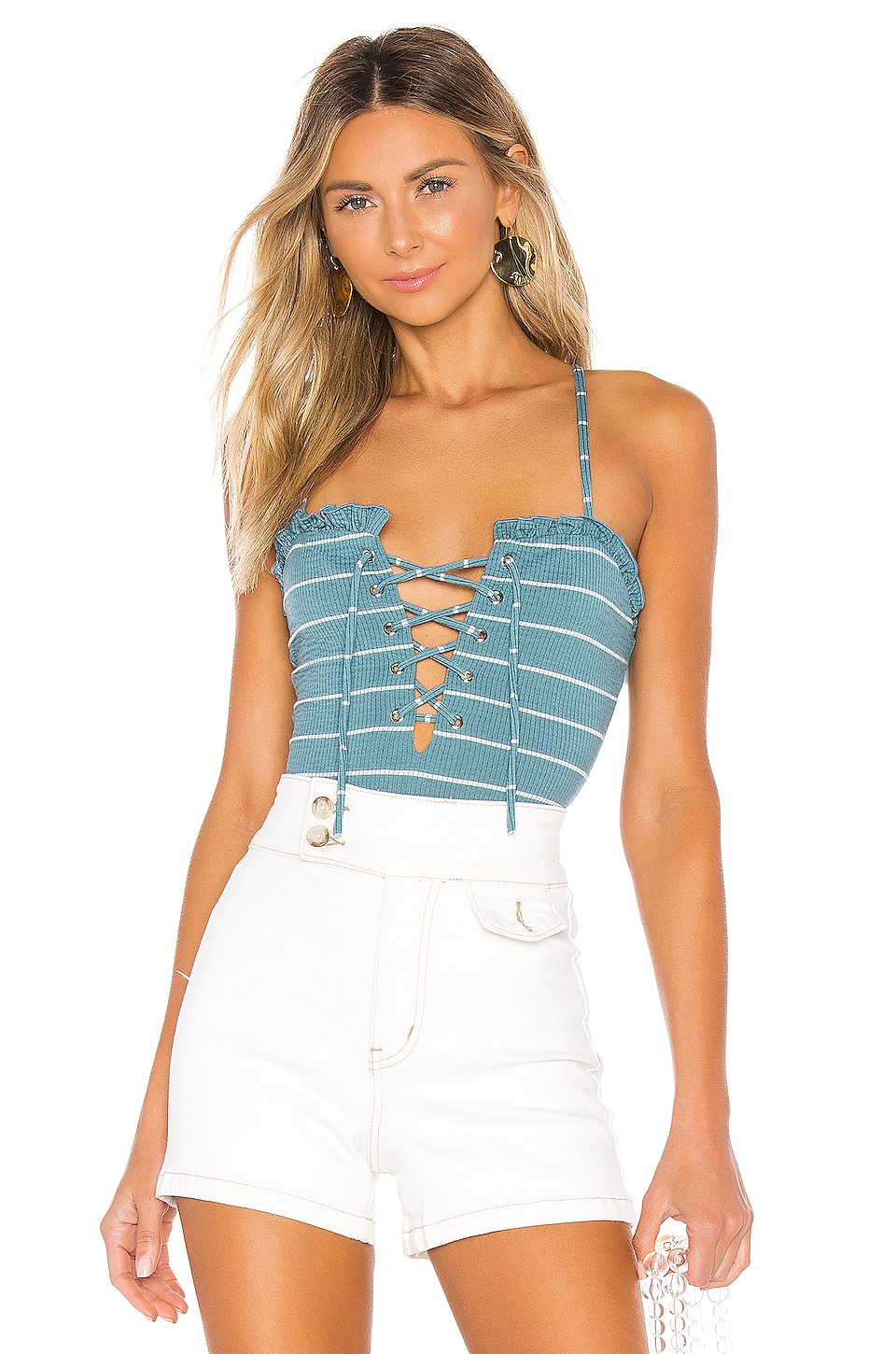 Privacy Please Mina Bodysuit in Teal & White