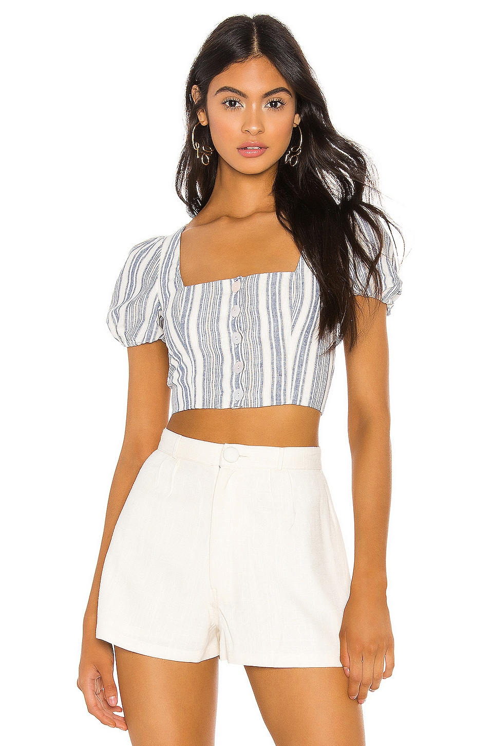 Privacy Please Paola Top in Blue Chambray Stripe