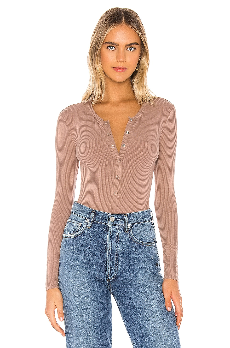 Privacy Please Peoria Bodysuit in Taupe