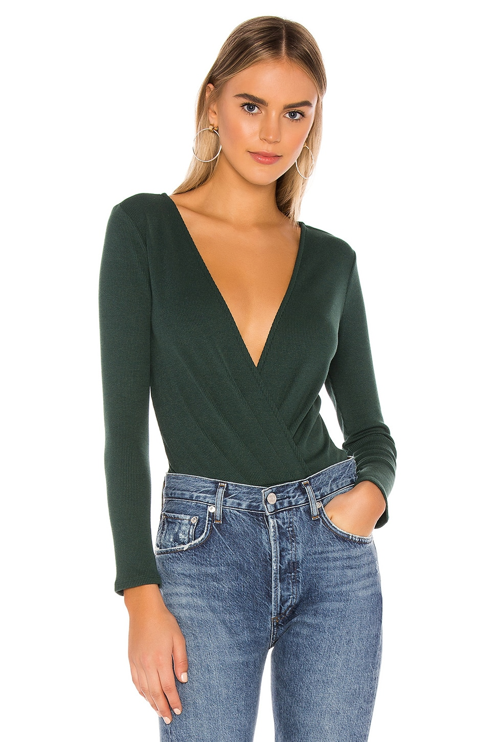 Privacy Please Bolt Bodysuit in Emerald Green