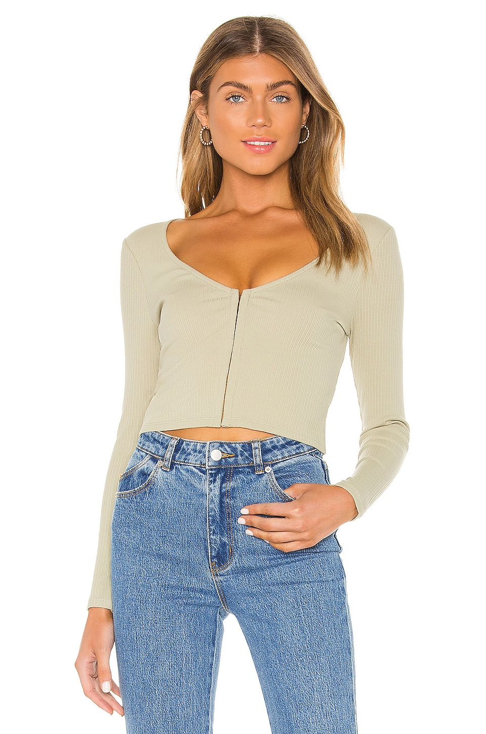 Privacy Please Hunter Top in Sage Green