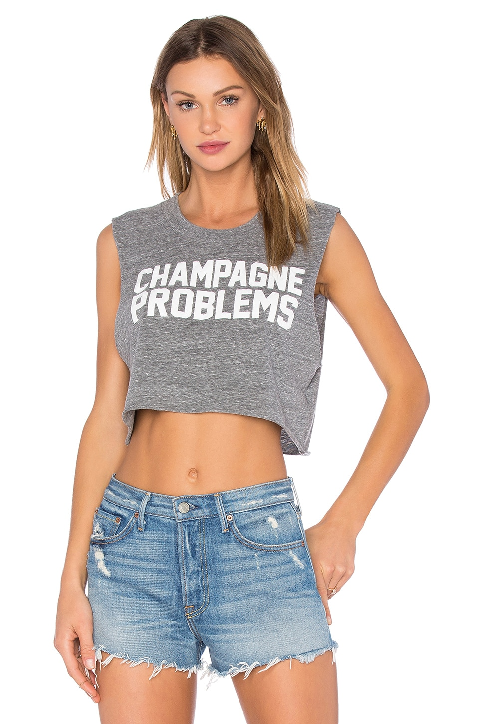 Private Party Champagne Problems Crop Muscle Tank in Grey