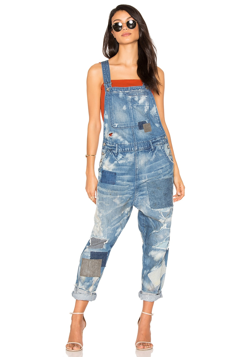 PRPS Goods & Co Patchwork Overall in Blue