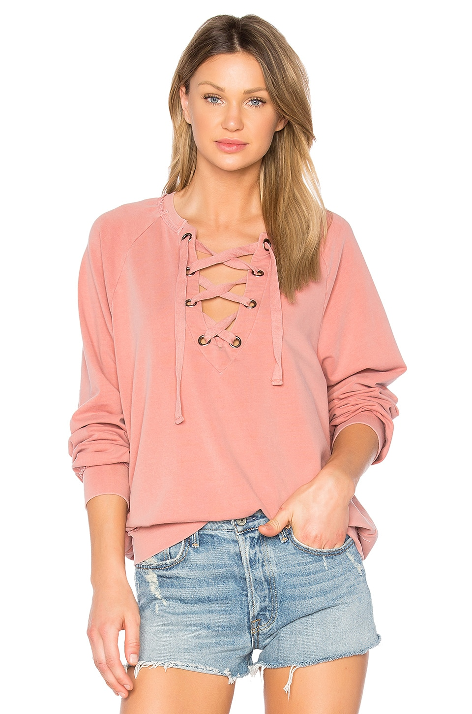 Project Social T Slave to Love Lace Up Sweatshirt in Pigment Spice