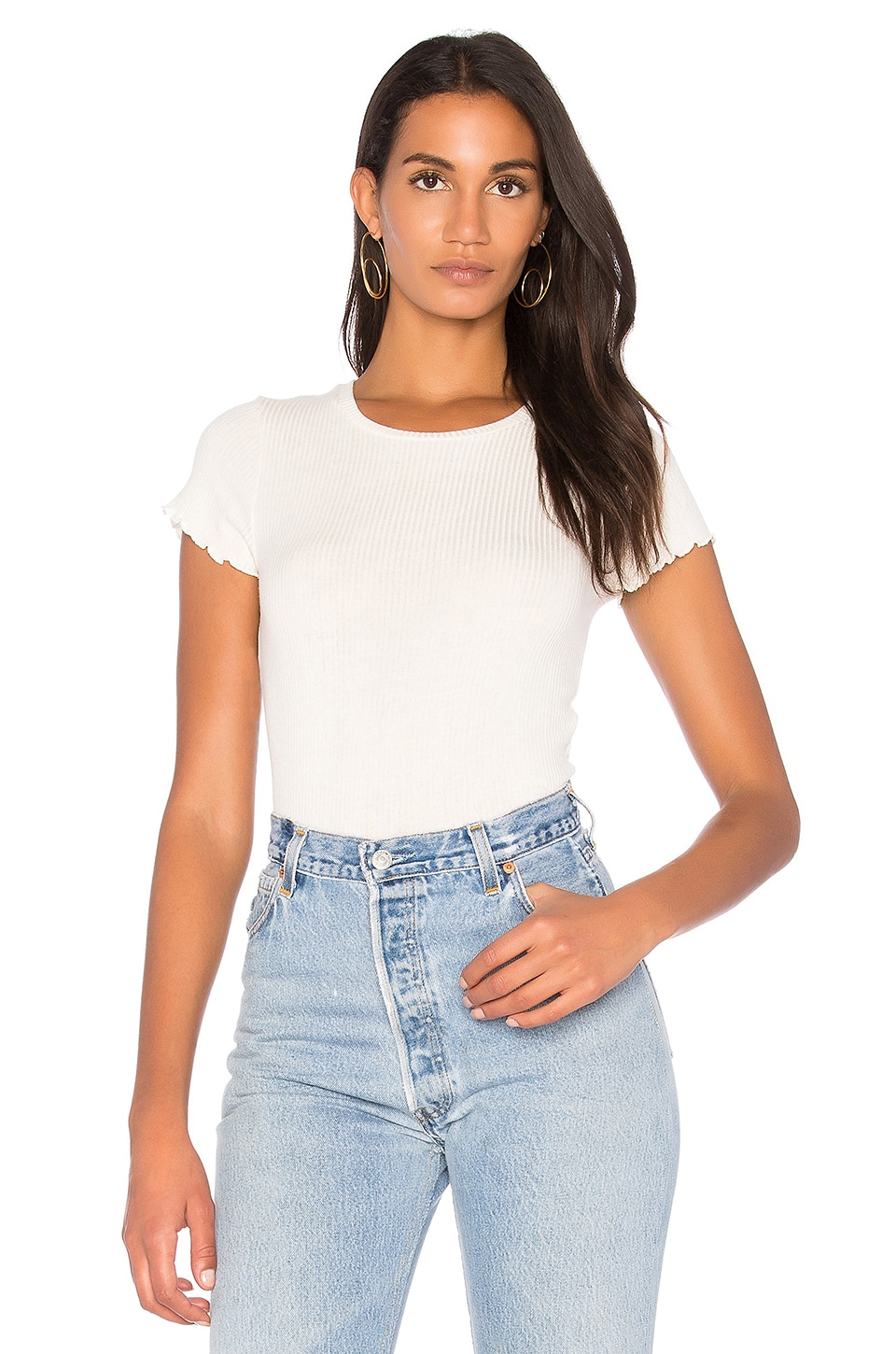 Project Social T Lainey Rib Tee in Egret