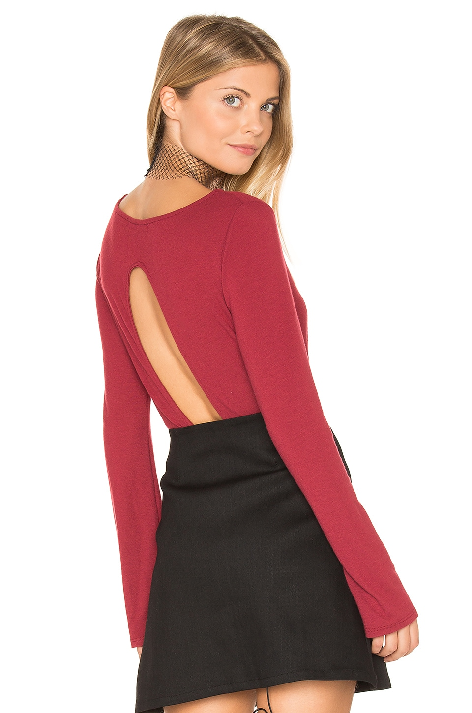 Project Social T Formation Open Back Bodysuit in Wine