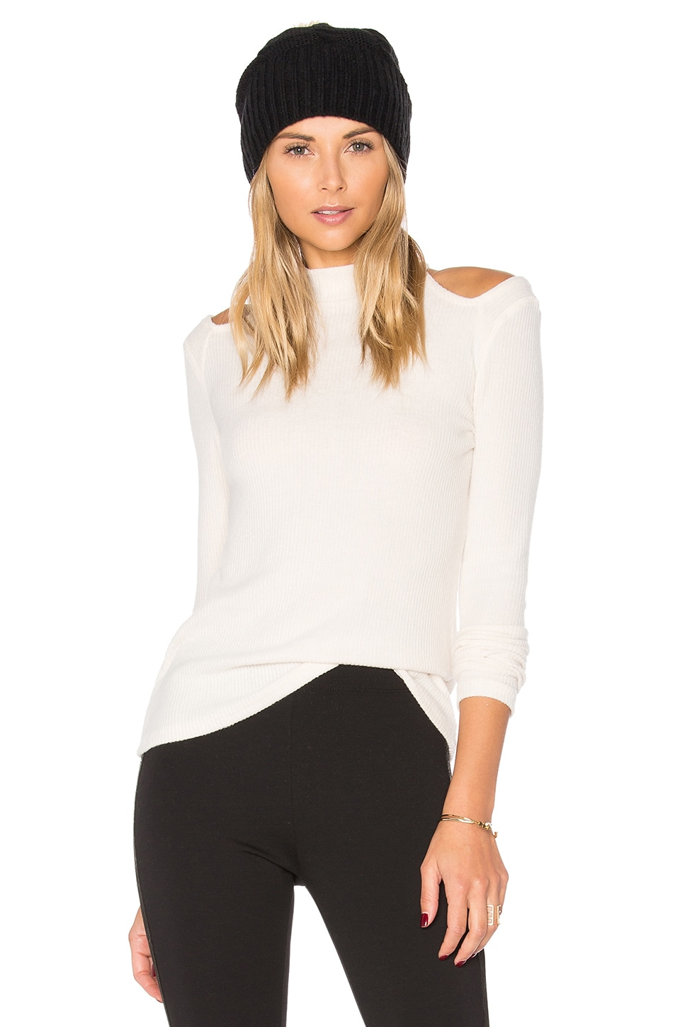 Project Social T December Mock Neck Top in Cream