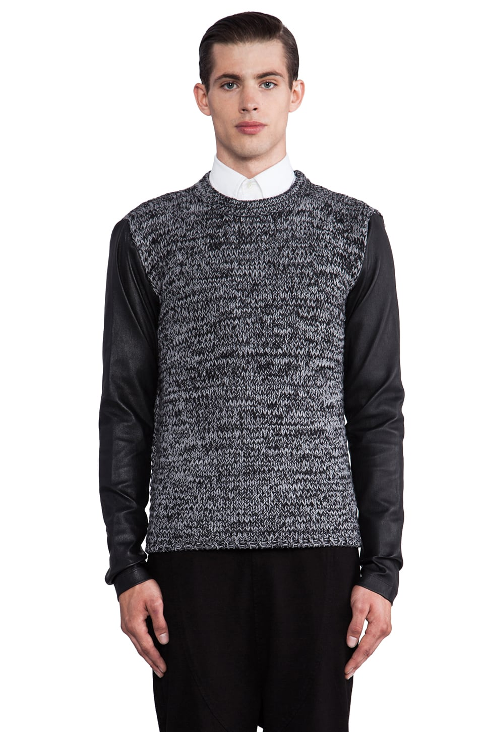 Public School Contrast Sleeve Pullover in Black/ Grey