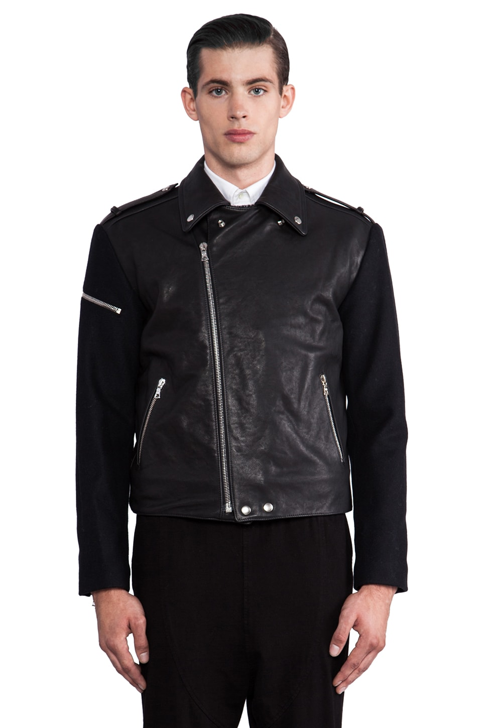 Public School Leather/ Wool Moto Jacket in Black
