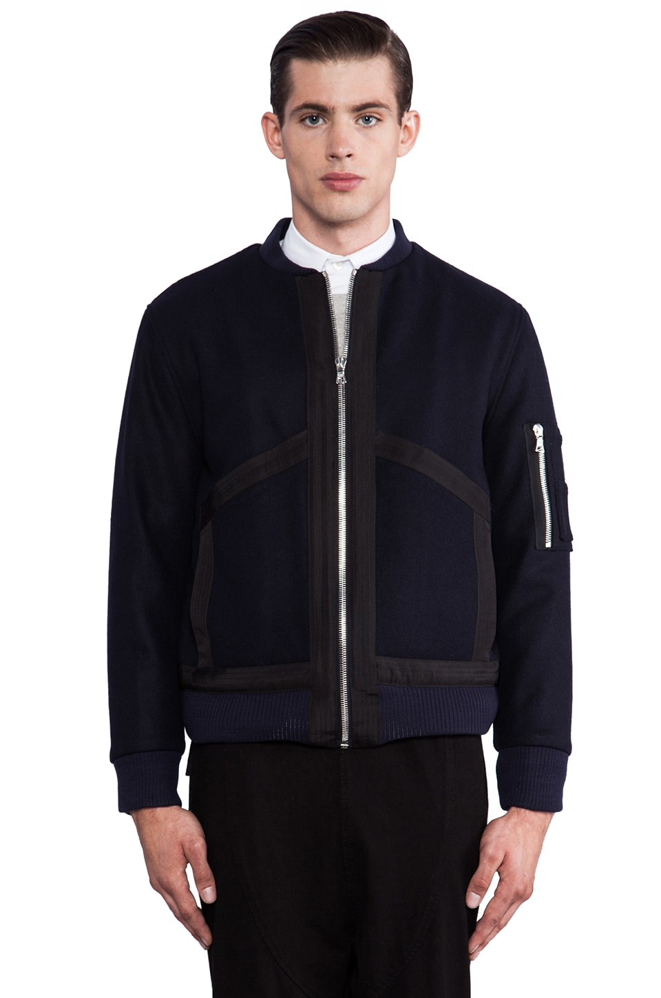 Public School Wool Felt Bomber Jacket in Navy
