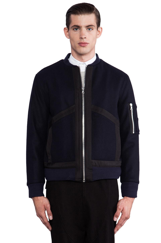 Public School Wool Felt Bomber Jacket in Navy