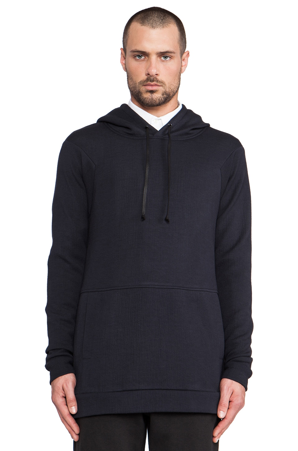 Public School Raglan Pullover Hood w/side Zip in Midnight