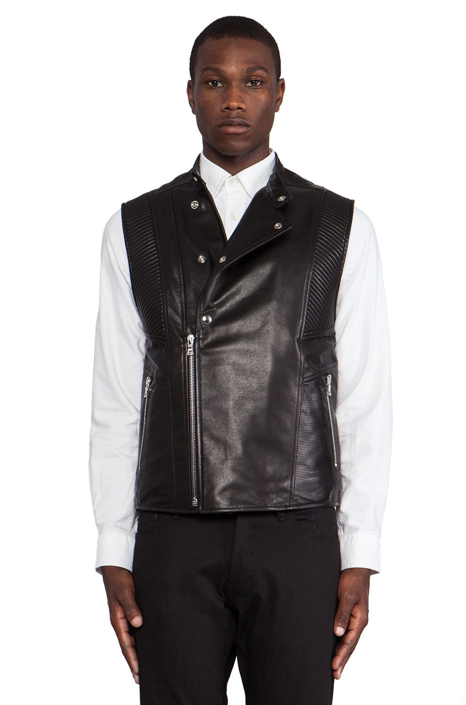 Public School Leather Motorcycle Vest in Black