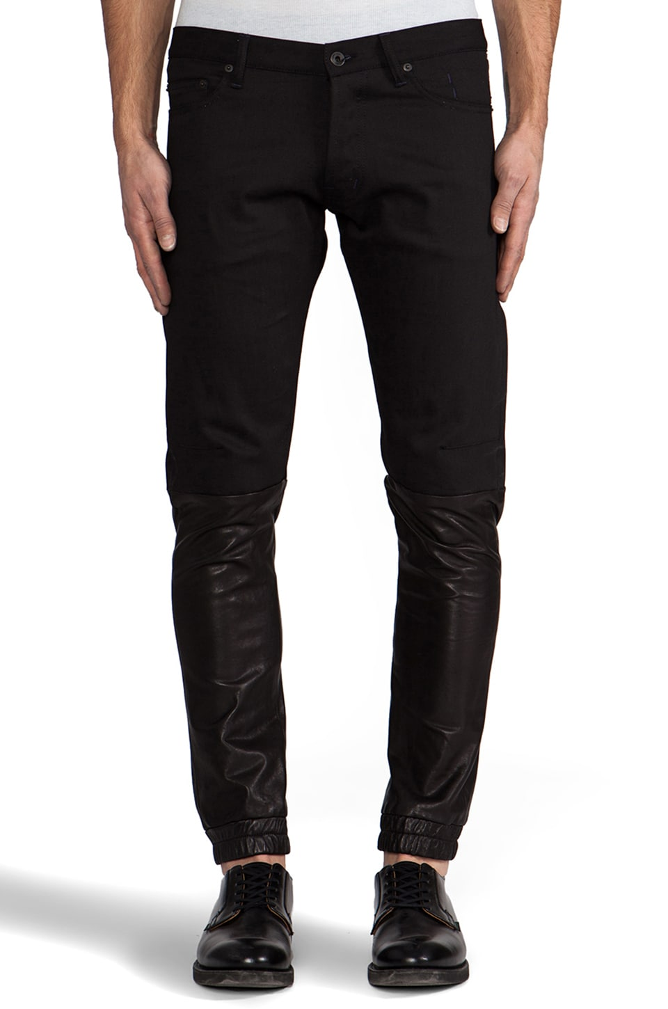 Public School Denim and Leather Pant in Black