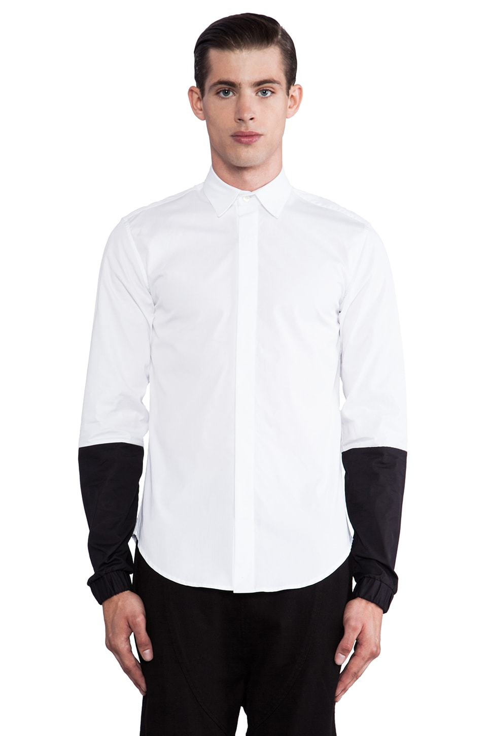 Public School Contrast Sleeve Button Down in White/ Black