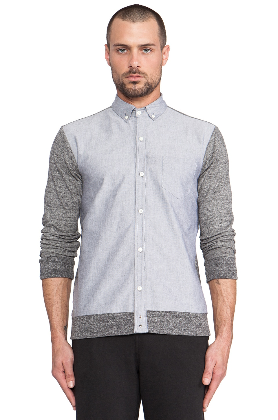 Public School Mixed Textures Button Down in Grey