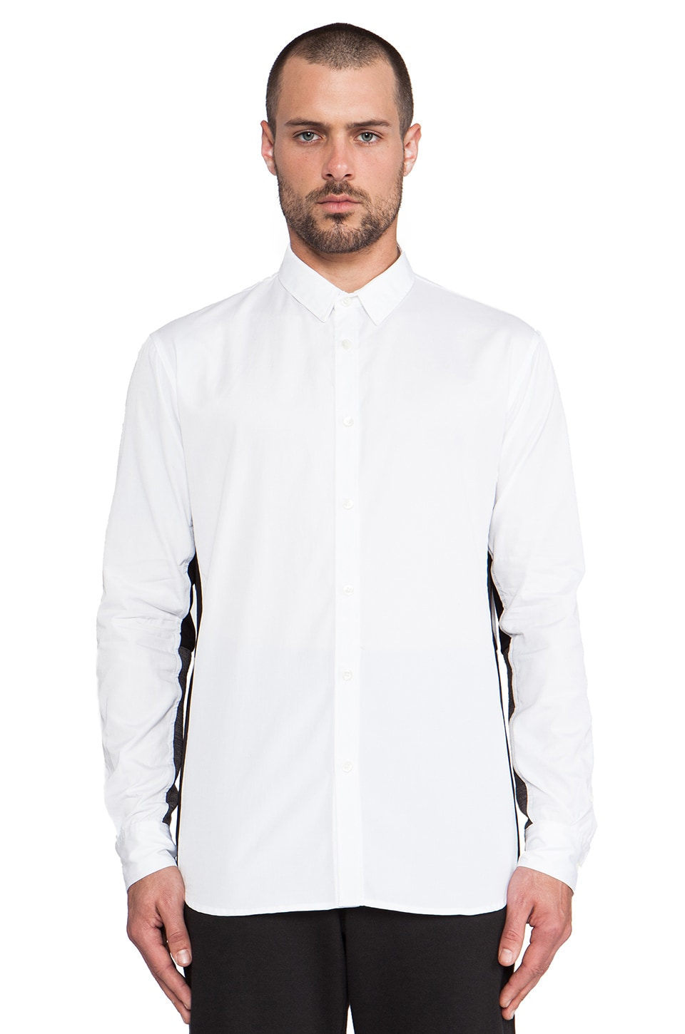 Public School Contrast Under Sleeve Button Down in White