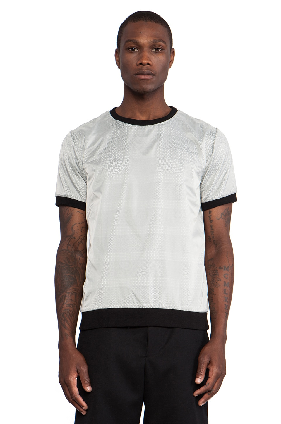 Public School Laser Cut Overlay Tee in White