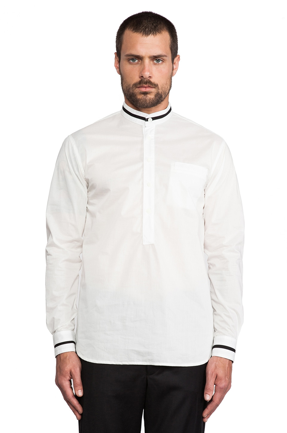 Public School Mock Neck Shirt in White