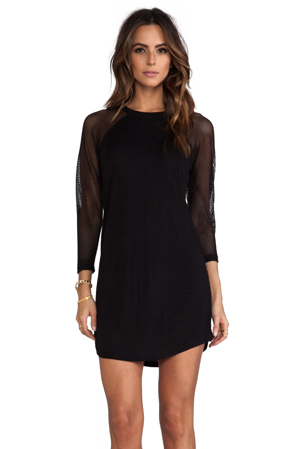 Pencey Standard Mesh Sleeve Baseball Mini Dress in Black