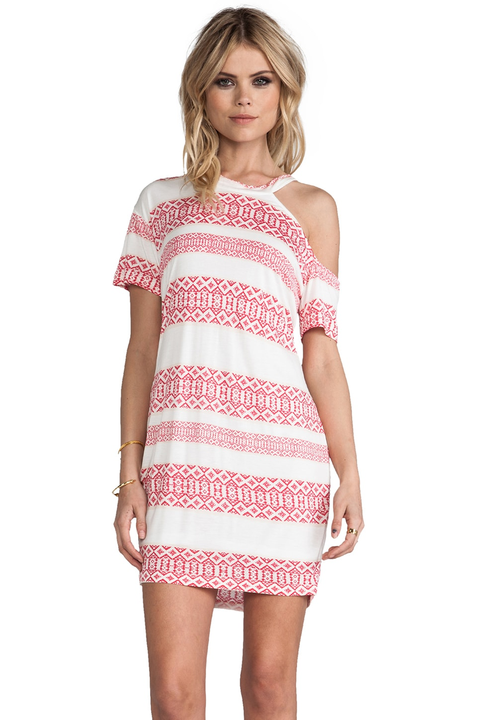 Pencey Standard One Shoulder Cut Out Dress in Afghani Stripe