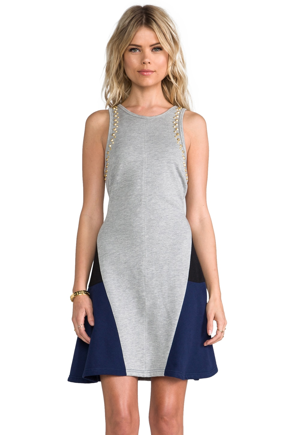Pencey Standard Studded Dress in Grey & Navy
