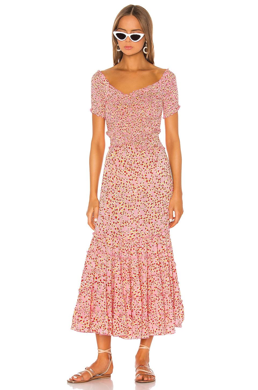 Poupette St Barth Soledad Off Shoulder Dress in Pink Papilon