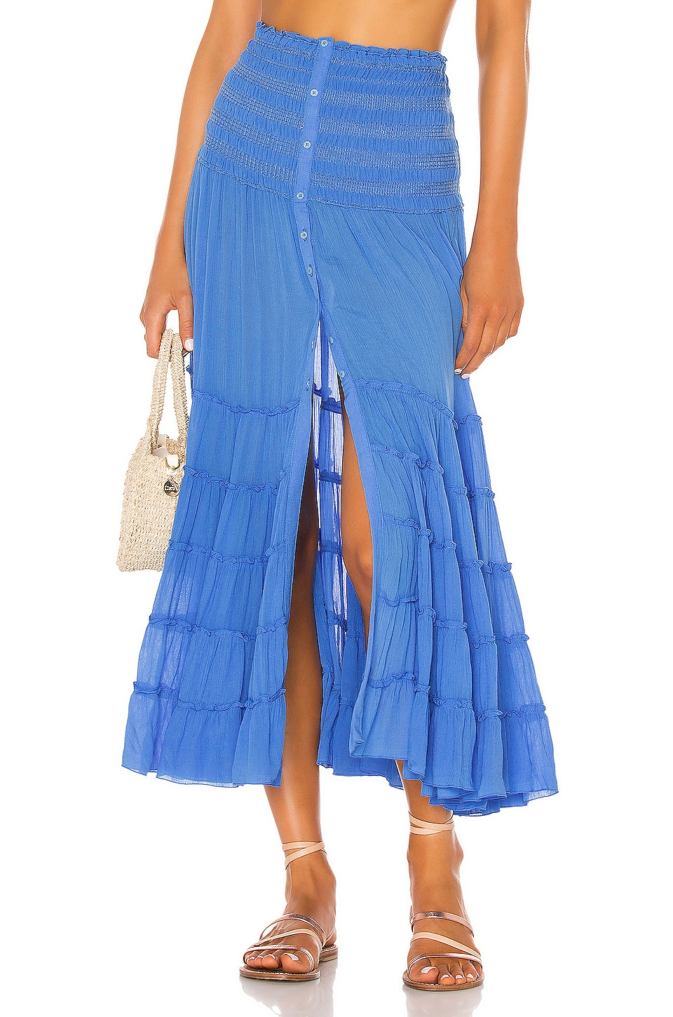 Poupette St Barth Foe Panelled Maxi Skirt in Blue