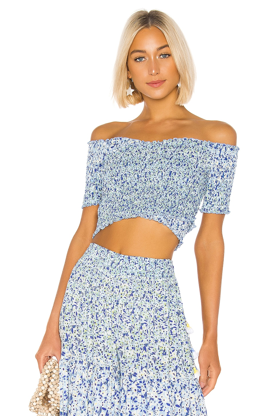 Poupette St Barth Soledad Blouse in Blue Icy Liberty