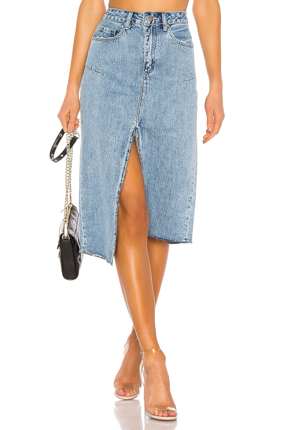 PISTOLA Kaia Denim Midi Skirt in Blue Cult
