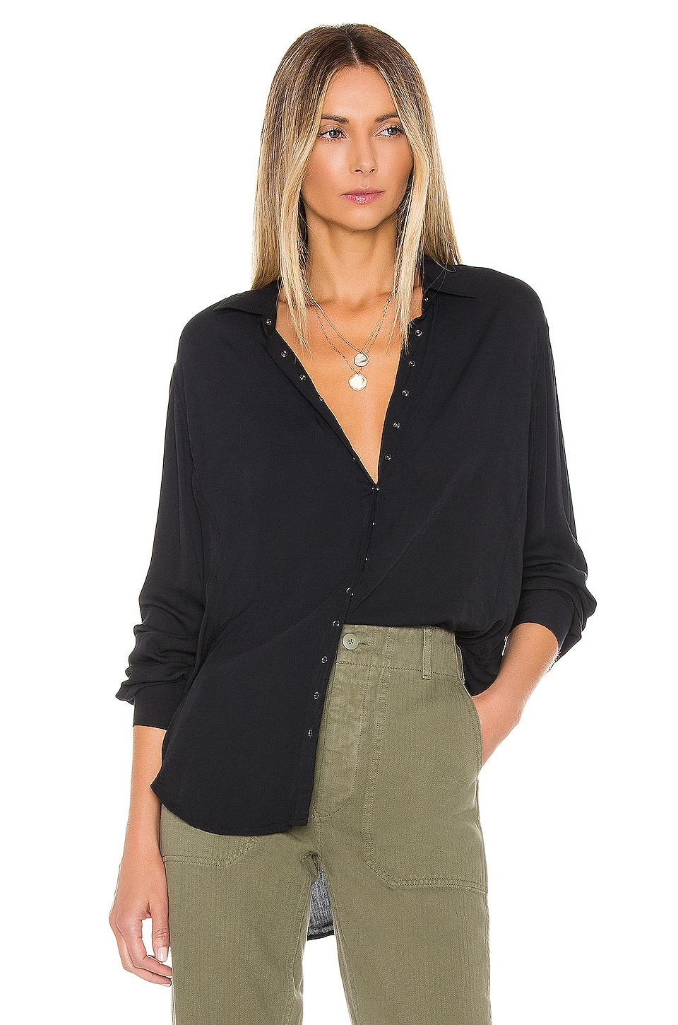 PISTOLA Button Down Top in Onyx