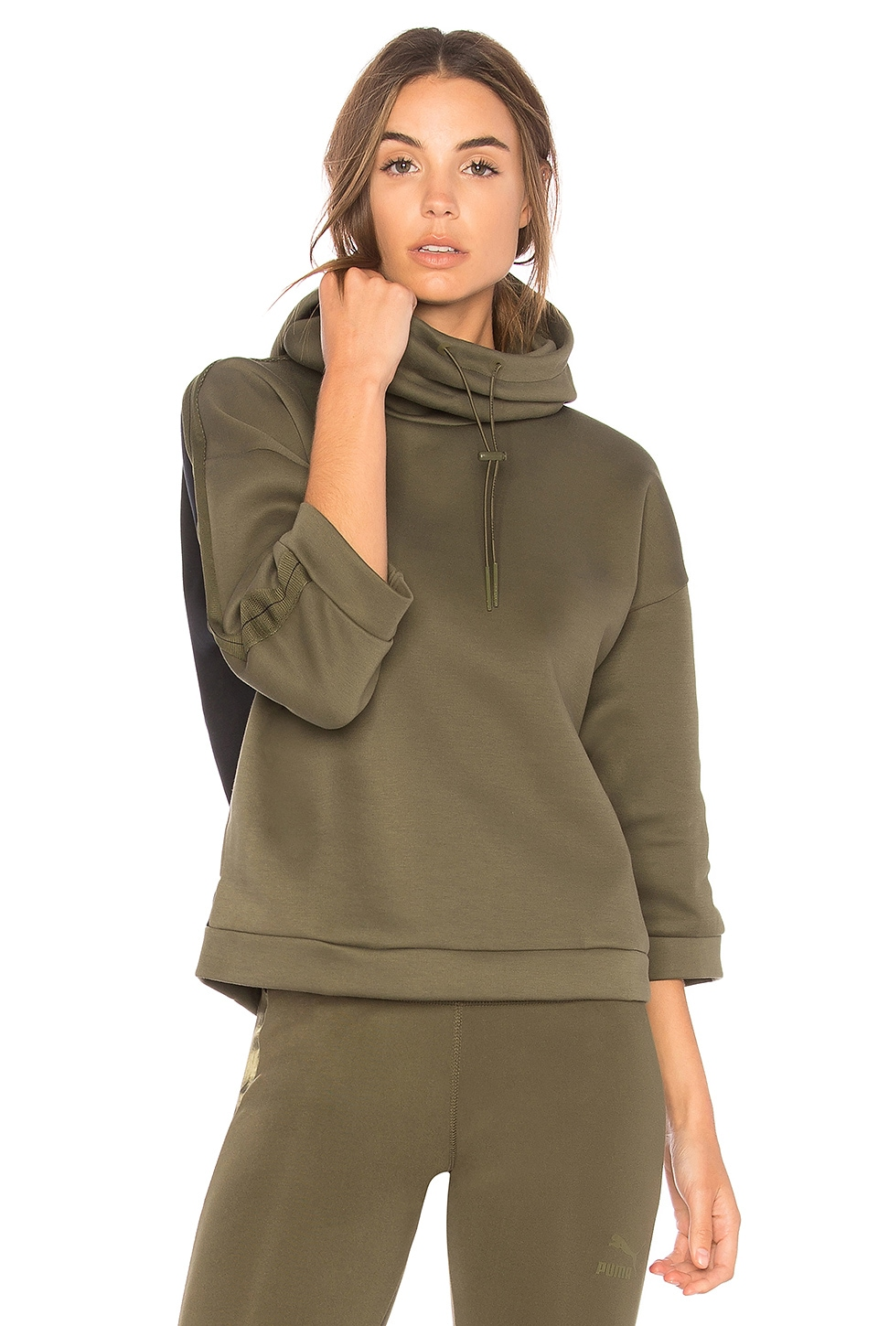 Puma Olive Funnel Neck Hoodie