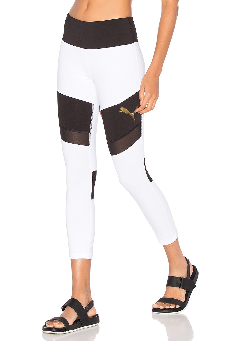 Puma Mixed Material Capri in Puma White & Puma Black