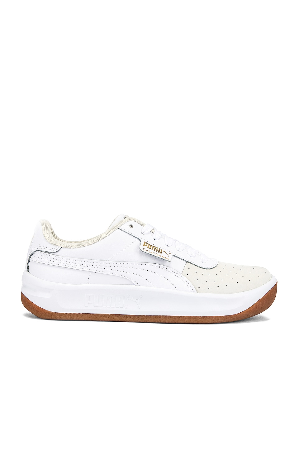 Puma California Exotic Sneaker in Whisper White & Puma White & Team Gold