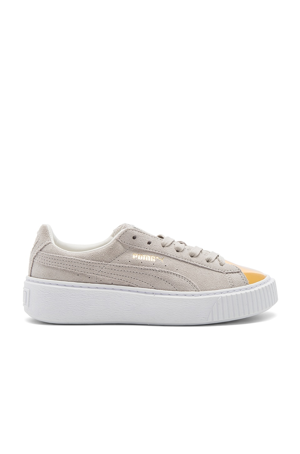Puma Suede Platform Sneaker in Gold & Star White