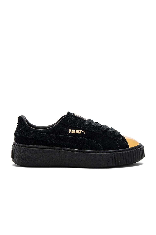 Puma Suede Platform Sneaker in Gold & Puma Black