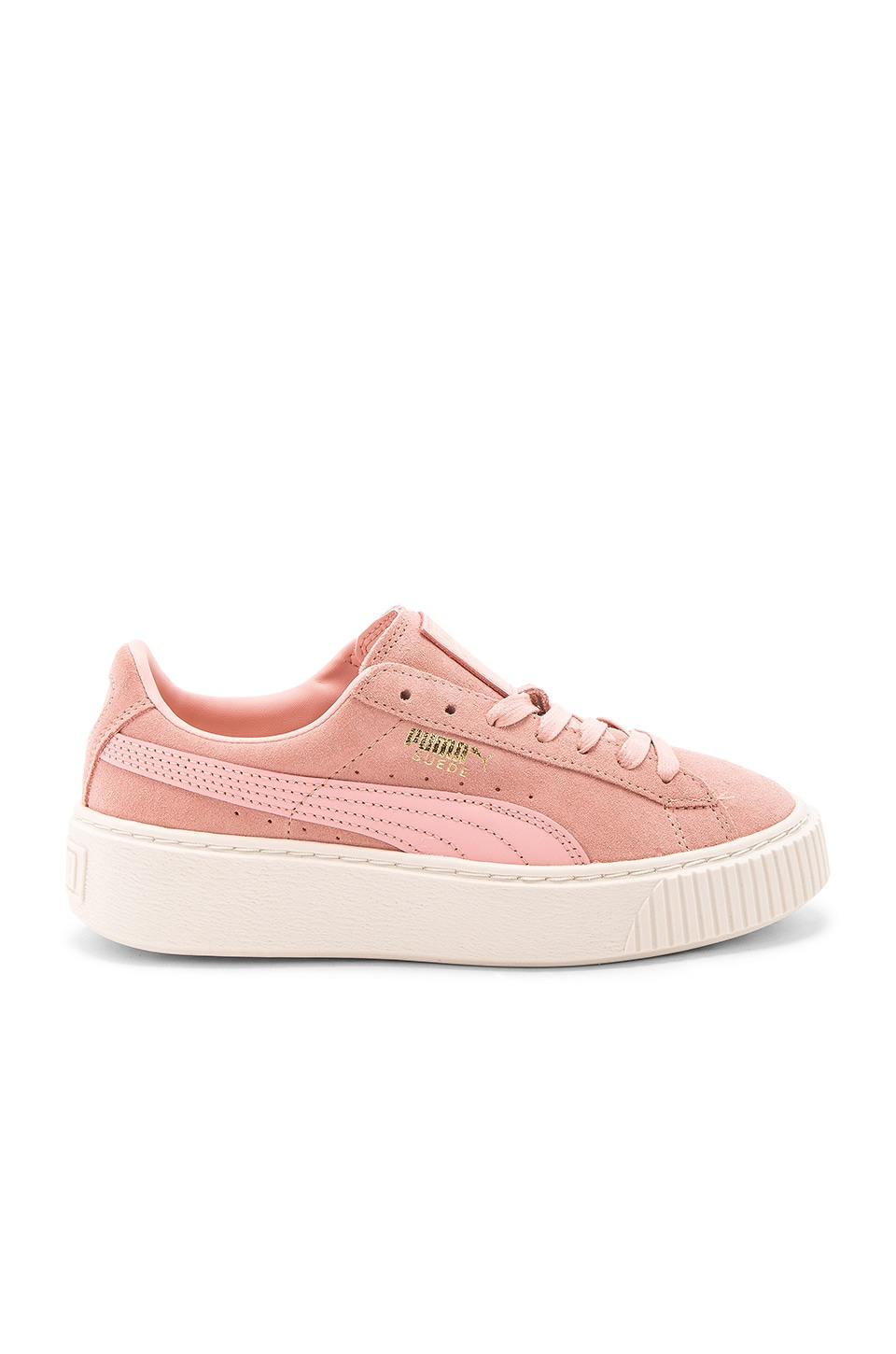 Puma Suede Core Platform in Coral Cloud Whisper White