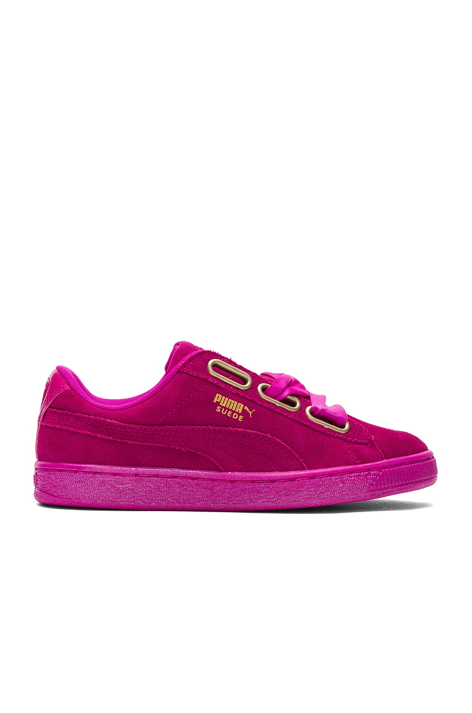 Empower Angry Expectation  Puma Suede Heart Satin Sneaker in Ultra Magenta | REVOLVE