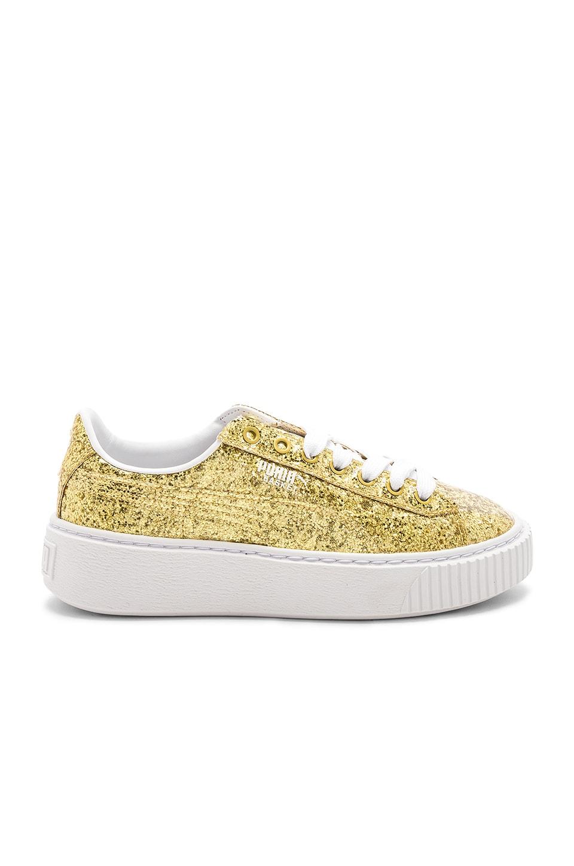 eb248b937be Puma Basket Platform Glitter Sneaker in Gold