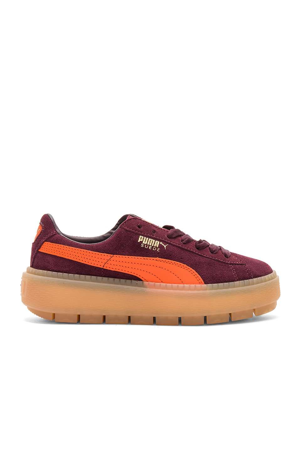 separation shoes 90519 ff1f1 Puma Suede Platform Trace Block Sneaker in Winetasting ...
