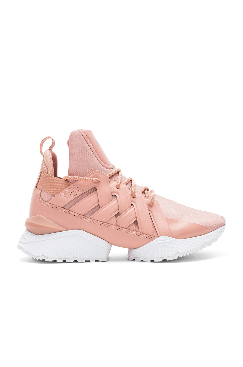 Puma Muse Echo Satin Sneaker in Peach Beige & Puma White