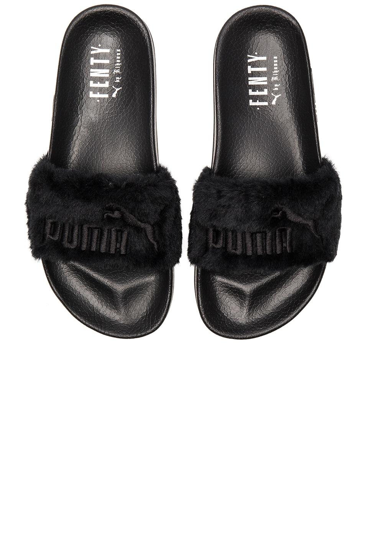 Puma x Rihanna Leadcat Fenty Sandal in Black & Puma Silver
