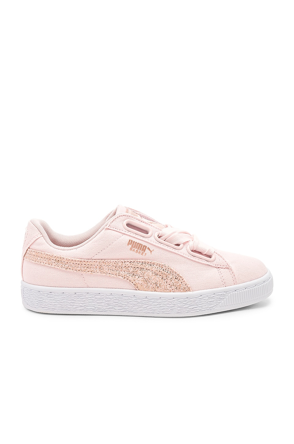 Women'S Basket Heart Canvas & Glitter Lace Up Sneakers, Pearl/ White/ Rose Gold
