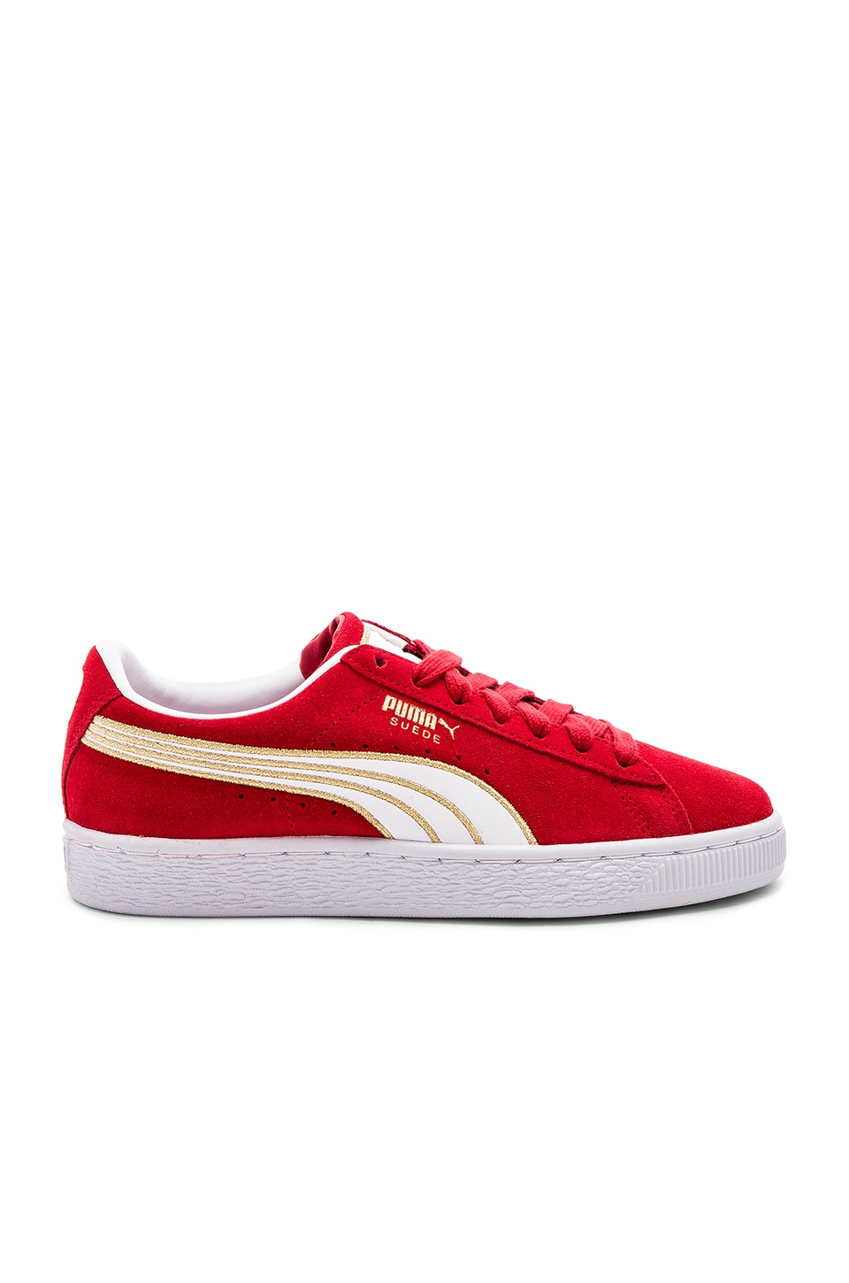 sports shoes 445cd 8cce0 Puma Suede Varsity Sneaker in Ribbon Red & Puma White | REVOLVE