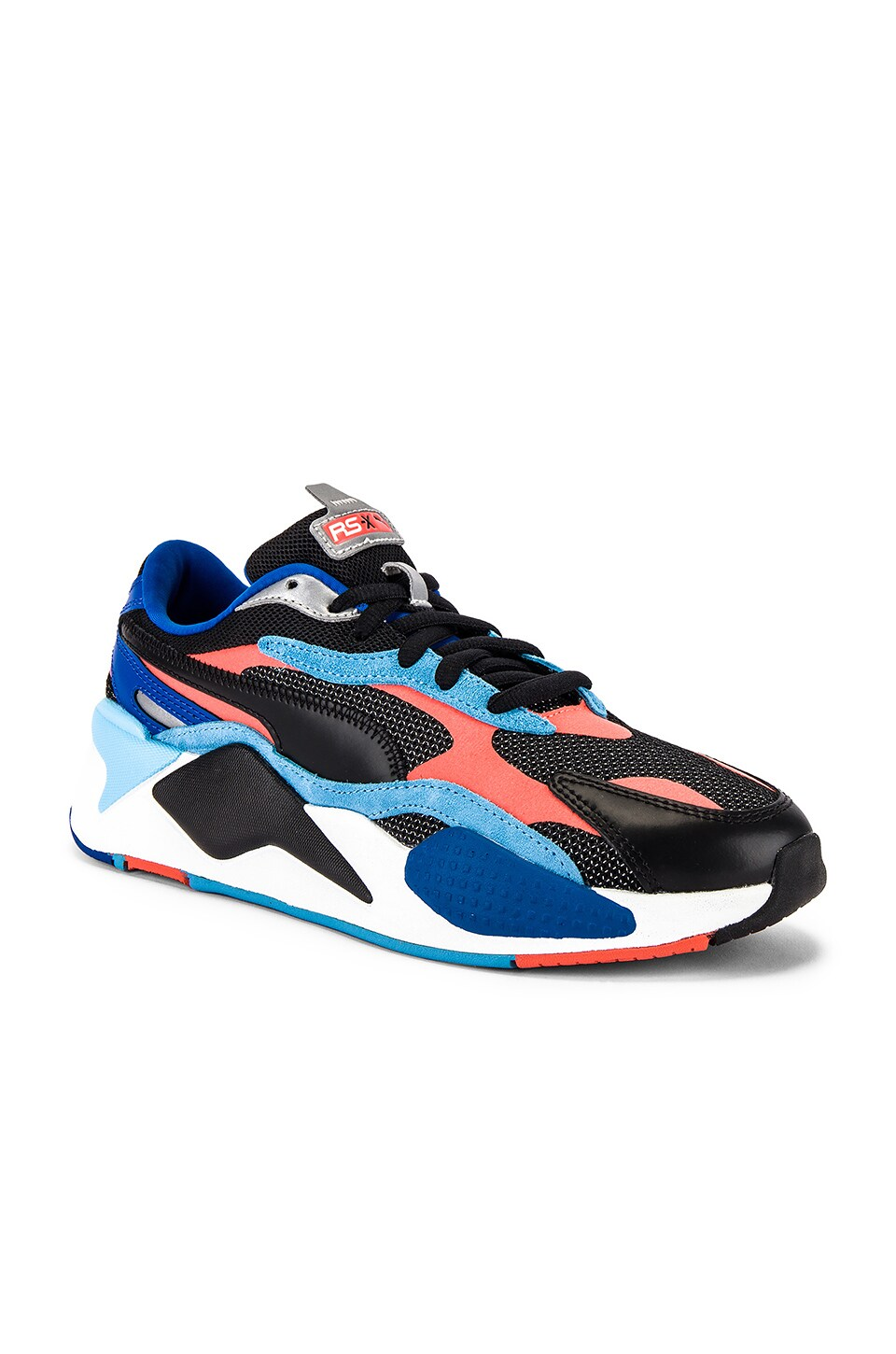 Puma Select RS-X3 Level Up Sneaker in Puma Black & Hot Coral
