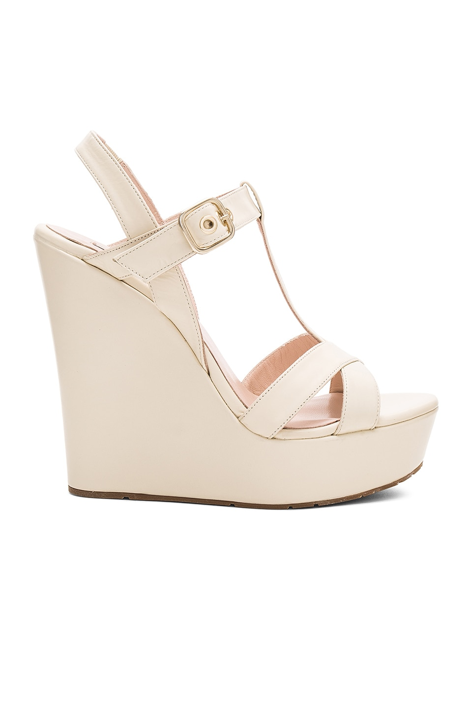 Pura Lopez High Wedge in Calf Cream