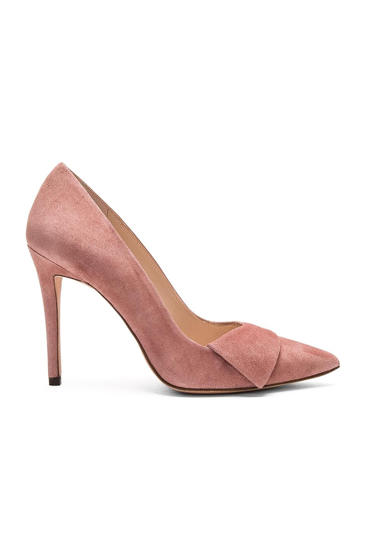 Pura Lopez Baby Heel in Suede Rose